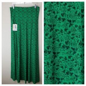 LuLaRoe Navy Blue Vines on Green Maxi Skirt M